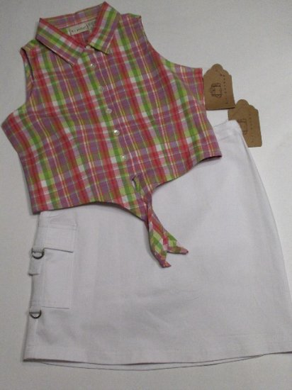 New K.C. Parker by Hartstrings girls plaid tie blouse and white cargo skirt set size 14