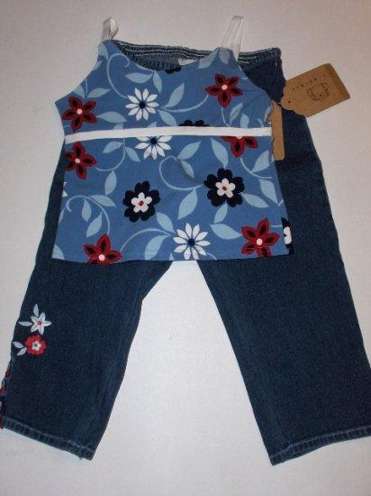 New K.C. Parker by Hartstrings blue floral tank denim capri pants girls size 6