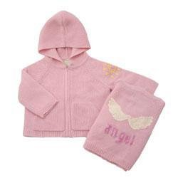 New Amber Hagen Cashmere  luxury pink  Hooded Angel Sweater  ages 12 - 24 months baby girl