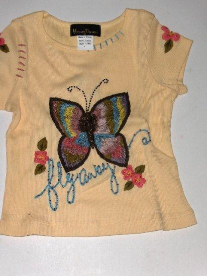 New Hannah Banana Yellow Fly Away tee girls size 4