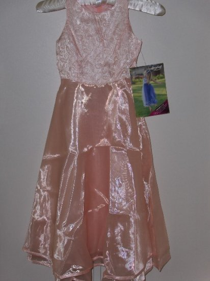 New Peach Paisley Jacquard dress size 6 girls wedding party