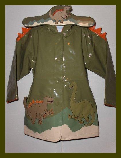 New Kidorable Dinosaur hooded raincoat with hanger set 3T boys