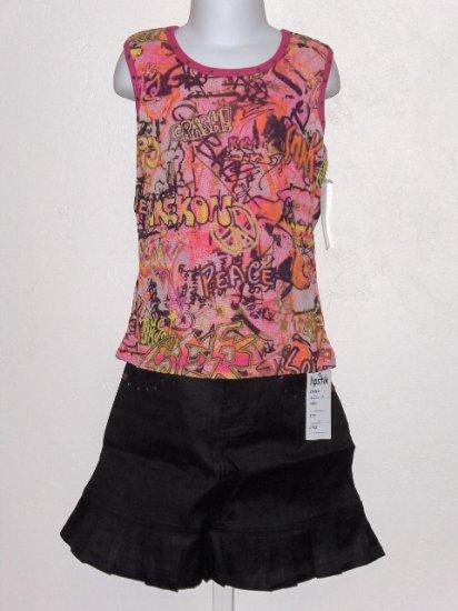 New Lipstik Graffitti tank black skirt set girls size 8