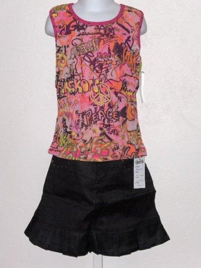 New Lipstik Graffitti tank black skirt set girls size 12