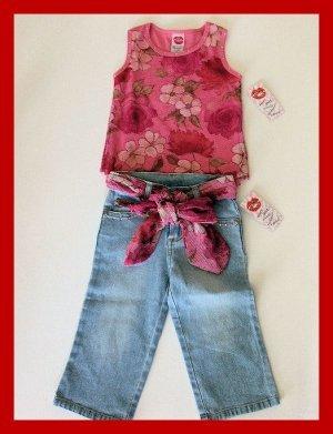 sale New Lipstik floral pink tank top belted jean capris girls size 5