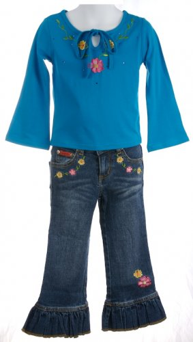 sale Lipstik Long sleeve turquoise blue tee and jeans set girls size 5