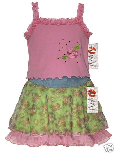 sale Lipstik pink rose tank top and floral flounce skirt girls size 2T