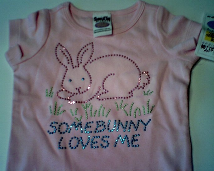 Pink Somebunny Loves Me Tee by SpecialTee Designs girls size L 12