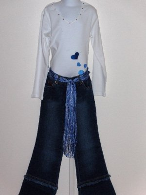sale Lipstik Long sleeve white heart tee and jeans with fringe belt girls size 7