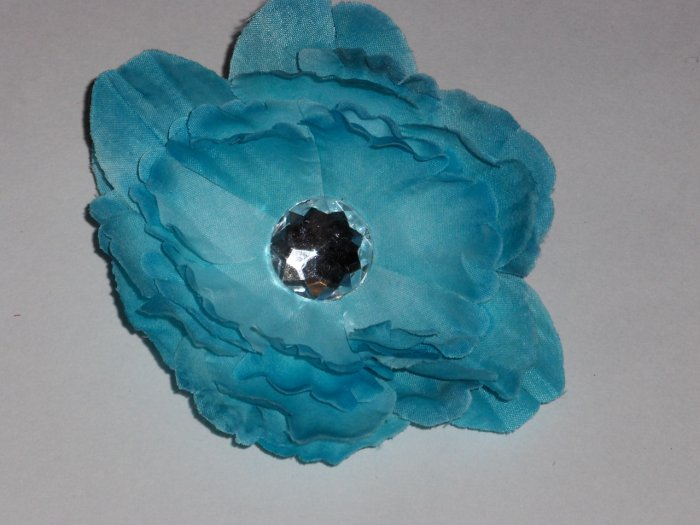 Turquoise Blue Peony Flower Hair Clip