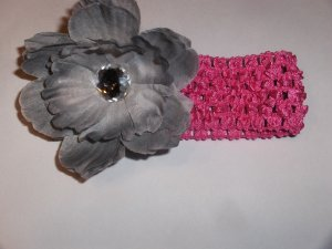 Silver grey peony on a hot pink 1.5 inch crochet headband
