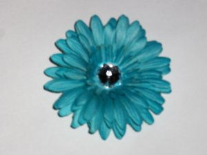 Turquoise Blue 4 inch gerbera daisy hair clip
