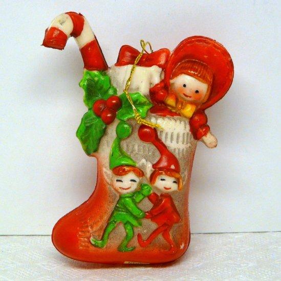 Vintage Christmas ornament blow mold stocking w toys Japan soft plastic or vinyl