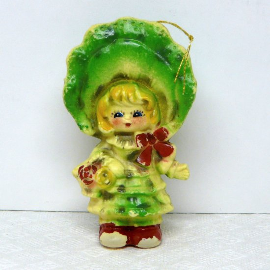 Vintage blow mold Christmas ornament Girl with a large hat early soft plastic
