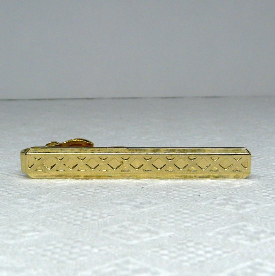 Vintage Tie Clasp Classic Style Criss Cross Textured gold tone
