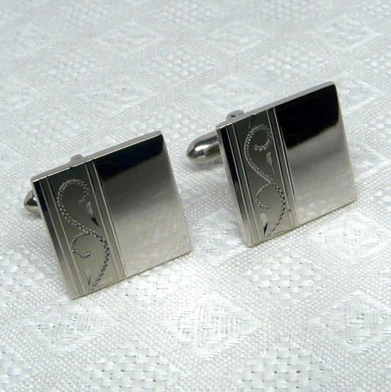 Vtg Swank cuff links cufflinks silvertone shiny and matte carved details
