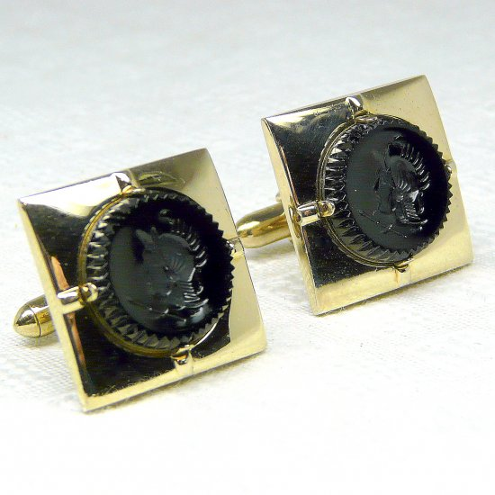 Vintage Men's Swank cufflinks gold tone Roman soldiers carved black stone