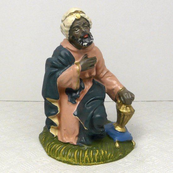 Vintage Nativity Paper Mache Balthazar Wise man king 4""