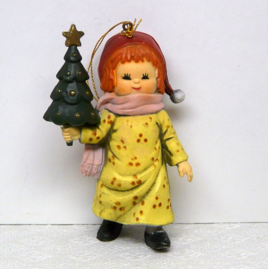 Vintage Bradford Novelty Christmas Ornament Girl with Christmas Tree 1980s