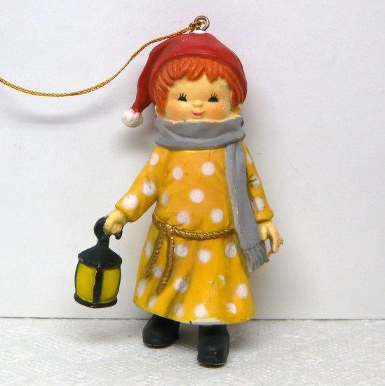 Vintage Bradford Novelty Christmas Ornament Girl with Lantern 1980s