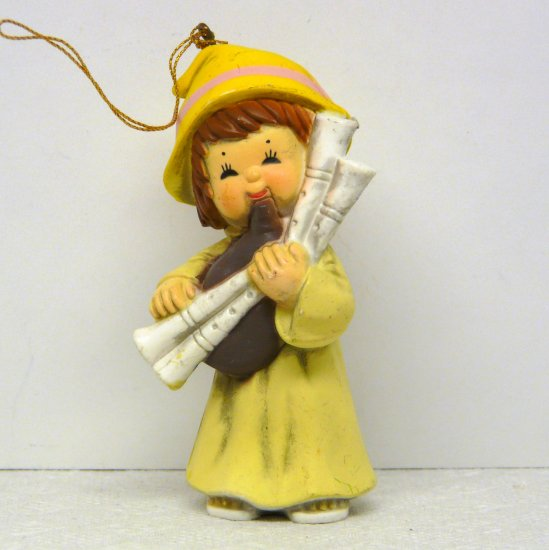 Vintage Bradford Novelty Christmas Ornament Girl Playing Bagpipes 1980s