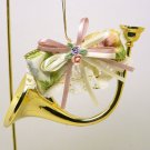 Christmas ornament Victorian style miniature French Horn decorated with roses, ribbons and lace