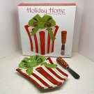 Fitz and Floyd Christmas Holiday Snack Plate and Spreader That's a Wrap red and green