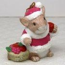 Vintage Christmas ornament Current Inc bisque porcelain mouse with apples