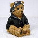 Youngs figurine Harley Biker Teddy bear motorcycle black leather jacket head wrap