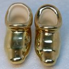 Vintage Collectible Pair of Ceramic Golden Elf Shoes