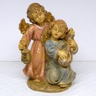 Vintage angel figurine 2 angels made in Italy numbered 54 lantern lute singing