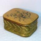 Vintage Borghese cast plaster lidded box floral flowers gilded red label