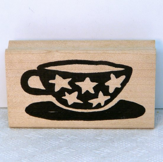 Hot Potatoes Rubber Stamp Star Cup coffee tea I178