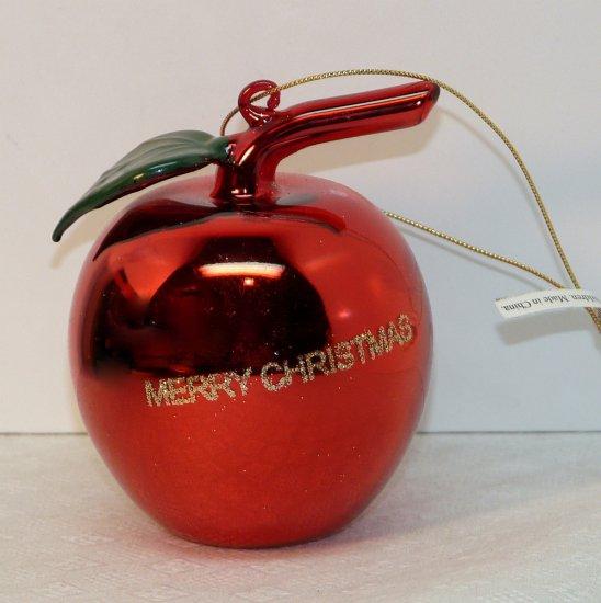 Christmas ornament blown glass red apple Merry Christmas box