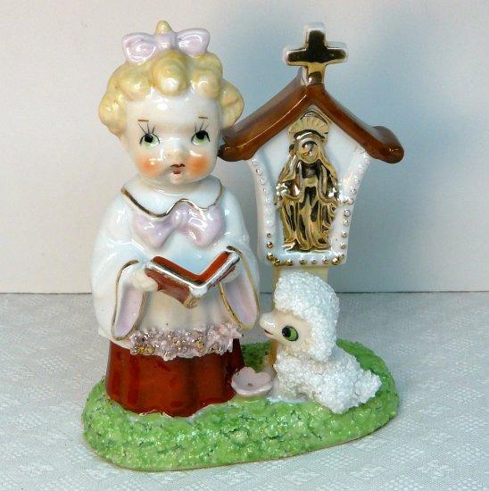 Vintage spaghetti figurine choir girl dog shrine Blessed Virgin Mary made in Japan porcelain