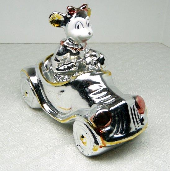 Vintage figurine female mouse in car roadster convertible ceramic luster glaze silvertone