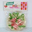 Vtg plastic or vinyl christmas ornament wreath w bells Yuletide Enterprises in original package