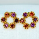 Vintage clip earrings prong set Austria rhinestone magenta orange red gold tone