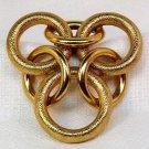 Vintage clip brooch large trefoil gold tone