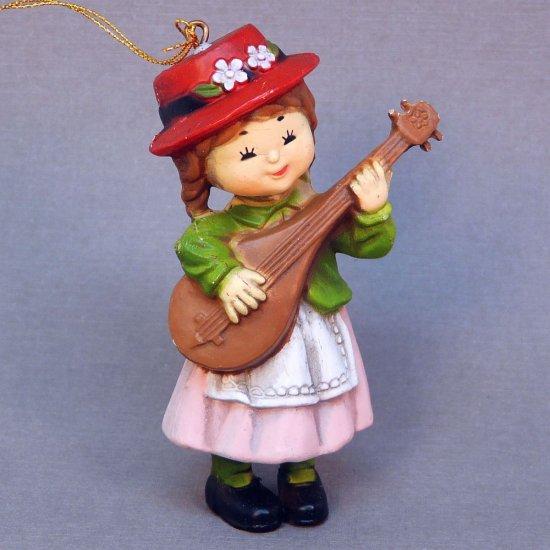 Vtg Christmas Ornament girl playing mandolin Bradford Novelty 1980s
