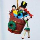 Vintage Enesco Christmas Ornament Small Wonders miniature 1989 toys in bucket