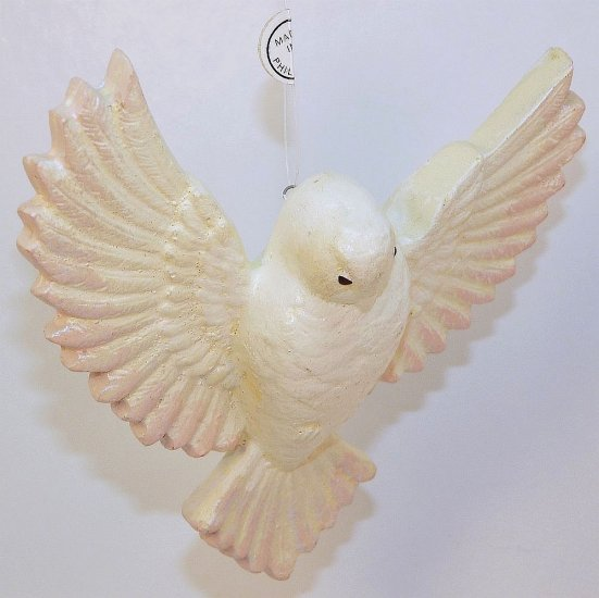 Christmas ornament dove white and pink made in the Philippines