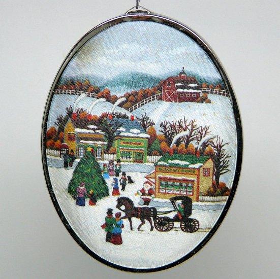 vtg Hallmark Friendship Satin Ornament 1985 padded fabric acrylic back farm town winter scene