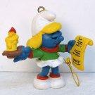 vintage Smurfette Caroler ornament Peyo Schleich portugal 1981