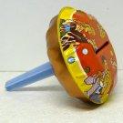 Vtg Tin Noisemaker Round Rattle plastic handle