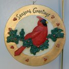 Vintage Christmas Ornament bird cardinal holly hand painted