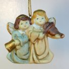 Angel Christmas Ornament bisque porcelain bell and violin