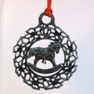 Vintage German pewter Christmas Ornament edelweiss and rocking horse