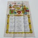 Vtg linen tea towel calendar 1977 Early Americana theme