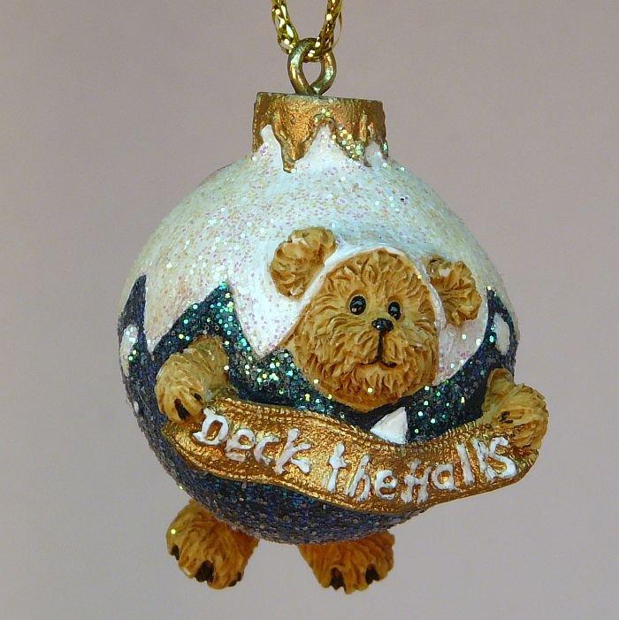 Boyds Bears miniature mini Christmas Ornament Deck the Halls glitter